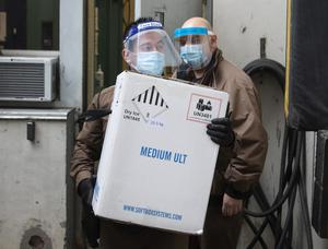 Doses of the vaccine are delivered to the Maimonides CHSLD in Montreal (Ryan Remiorz/The Canadian Press/AP)