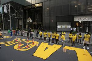 Black Lives Matter is painted on Fifth Avenue in front of Trump Tower (Mark Lennihan/AP)