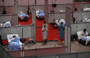 A temporary hospital at the Ifema convention and exhibition centre in Madrid