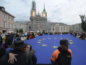 Protesters in July 2018 carry an EU flag at an anti-government protest in Warsaw(AP/Czarek Sokolowski, File)