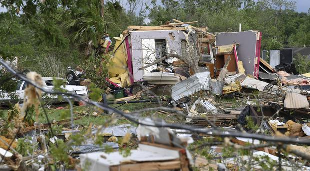 More than 30 homes were damaged when severe weather struck Franklin, Texas (Laura McKenzie/The Eagle via AP)