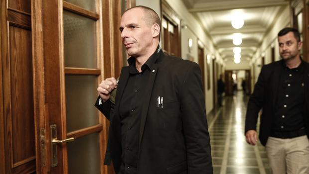 Greek finance minister Yanis Varoufakis arrives for a cabinet meeting at the parliament in Athens (AP)