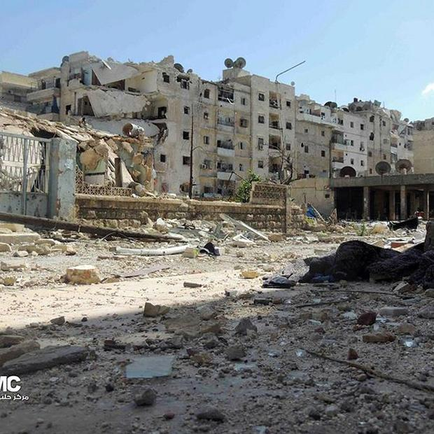 Wrecked buildings in the city of Aleppo after battles between the rebels and Syrian government forces (AP/Aleppo Media Center AMC)