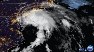 Tropical Storm Fay as it moves closer to land (NOAA via AP)