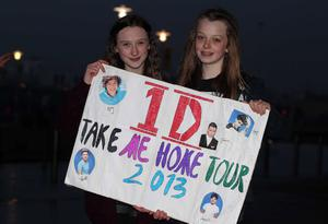 One Direction fans at the Odyssey Arena for the second night of the band's four-night run at the venue. Left to right; Courtney Morgan (14) and Courtney McIvor (14) from Craigavon