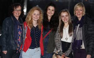 One Direction fans at the Odyssey Arena for the second night of the band's four-night run at the venue.  Left to right; Diane Heron with her daughters Carla (13) and Emma (16) along with Jade (13) and her mother Sonya Crothers