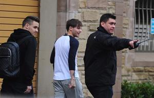 One Direction's Liam Payne & Louis Tomlinson pictured getting on the their tour bus at the Culloden Estate & Spa near Belfast