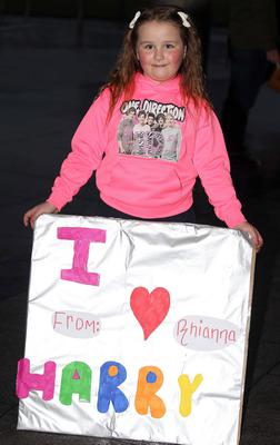 One Direction fans at the Odyssey Arena for the second night of the band's four-night run at the venue. Rhianna Stuart (7) from Belfast