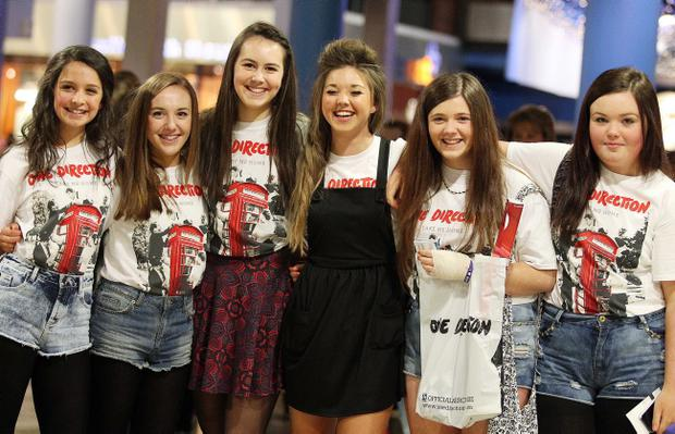 One Direction fans at the Odyssey Arena for the second show of the band's four-night run at the venue