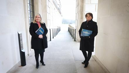 Plan: from left, Deputy First Minister Michelle O'Neill and First Minister Arlene Foster