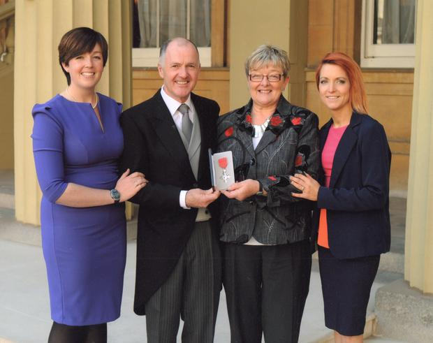 Colin Henderson after receiving his MBE with wife Joan and daughters Clare Tayler (left) and Jenny Dalzell