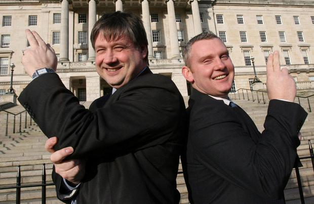 Top guns: NI21 leader Basil McCrea (left) and deputy John McCallister launched the party in a blaze of glory