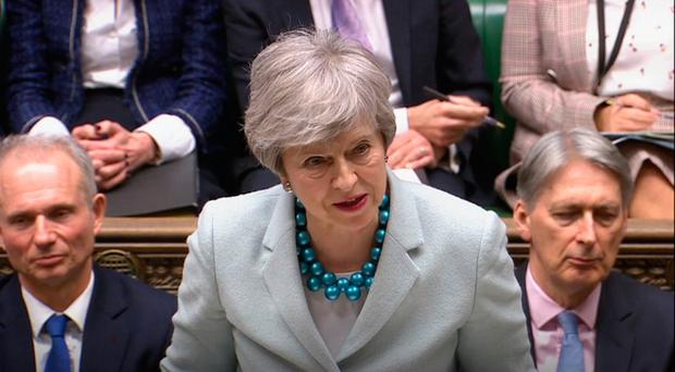Prime Minister Theresa May speaks in the House of Commons yesterday