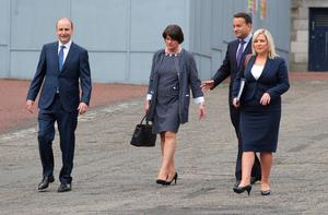 Mr Martin, First Minister Arlene Foster, Tanaiste Leo Varadkar and Deputy First Minister Michelle O'Neill in Dublin Castle for the first summit of the North South Ministerial Council
