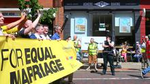 Amnesty International March for Equality as it makes its way through Belfast city centre