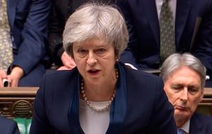 Theresa May speaking in the House of Commons last night
