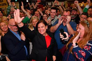 Sinn Fein leader Mary Lou McDonald celebrates with her supporters after the party's recent election success