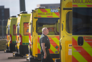 Prepared for the worst: NHS ambulances lined up outside the Nightingale Hospital in east London