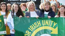 Sinn Fein's Michelle O'Neill launches an Irish unity billboard in Belfast last year
