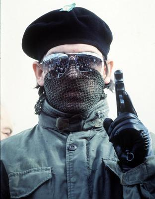 A masked and armed IRA man