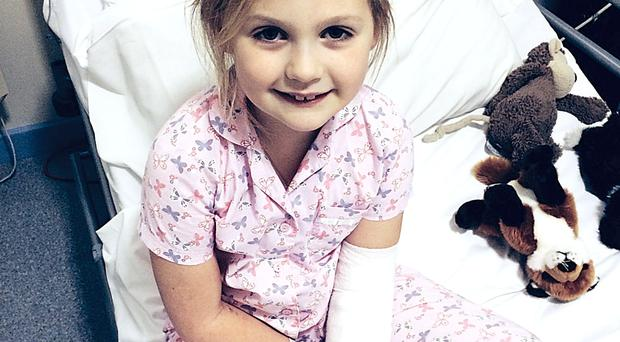 Feeling better: Declan's brave daughter Mary in hospital