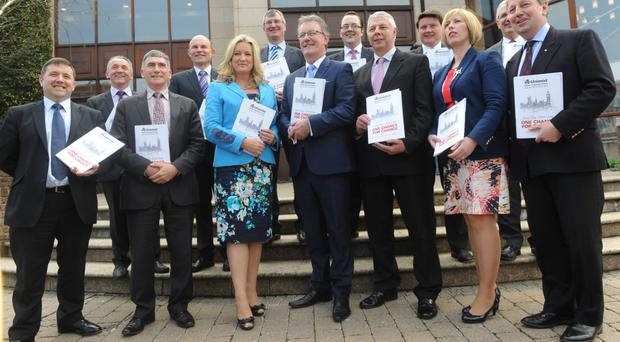 Ulster Unionist Party leader Mike Nesbitt and party members at their general election manifesto launch at Portadown's Seagoe Hotel