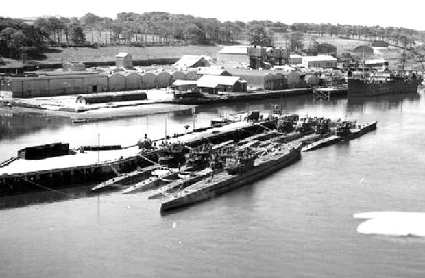 German U-boats surrender at Lisahally, near Londonderry, at the end of May 1945