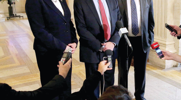 Finance Minister Arlene Foster, DUP deputy leader Nigel Dodds and Sammy Wilson talk to the Press in Parliament Buildings, Stormont, yesterday afternoon
