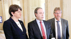 Finance Minister Arlene Foster, DUP deputy leader Nigel Dodds and Sammy Wilson pictured at a press conference in Parliament Buildings, Stormont.