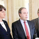 Finance Minister Arlene Foster, DUP deputy leader Nigel Dodds and Sammy Wilson pictured at a press conference in Parliament Buildings, Stormont this afternoon.