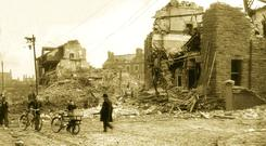 April 15/16, 1941, ruined homes on the Antrim Road between Duncairn Gardens and Hillman Street