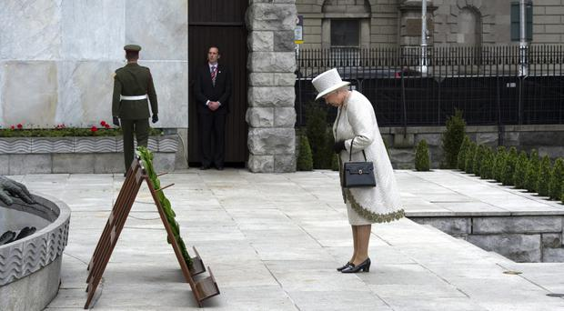 The Queen lays a wreath at Dublin Memorial Garden in 2011