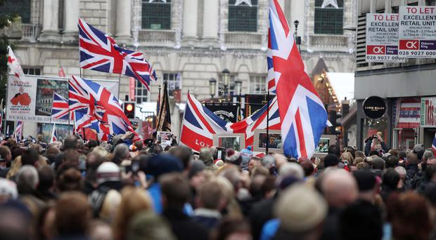 Loyalist flag protest at Belfast City Hall