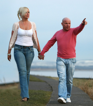 Johnny Adair with girlfriend Lynn Benson in Troon