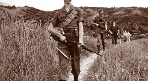 British troops on patrol during the Malayan Emergency