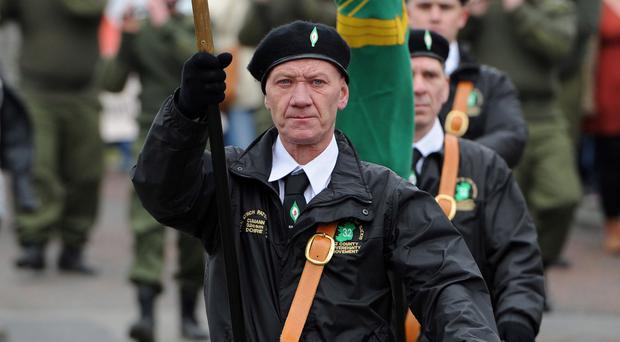The 32 County Sovereignty Easter Rising commemoration parade held in the Creggan estate, Derry