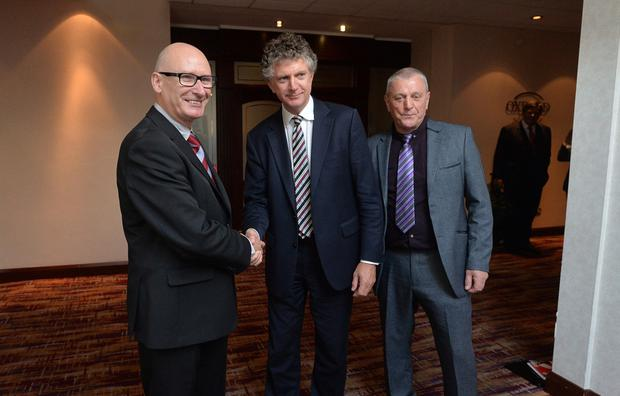 Tony Blair's former chief-of-staff Jonathan Powell (centre) with PUP leader Billy Hutchinson and UDA chief Jackie McDonald