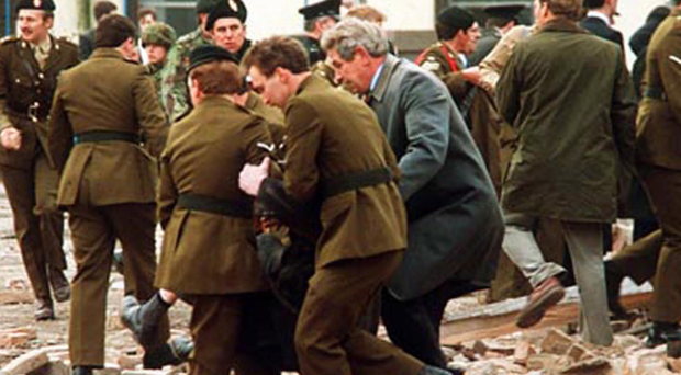 The scene of the Enniskillen bomb seconds after the blast