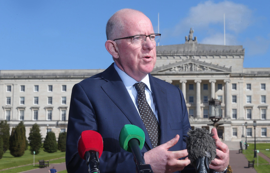 Irish Foreign Minister Charlie Flanagan arrives at Stormont