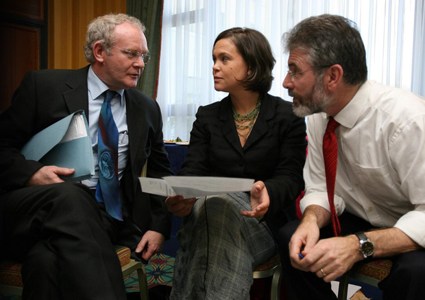 Sinn Fein leaders (left to right) Martin McGuinness, Mary Lou McDonald and Gerry Adams