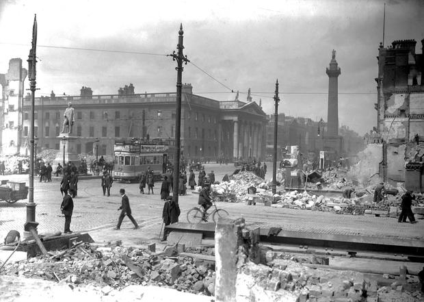 Sackville Street (now O'Connell Street) after the 1916 Rising
