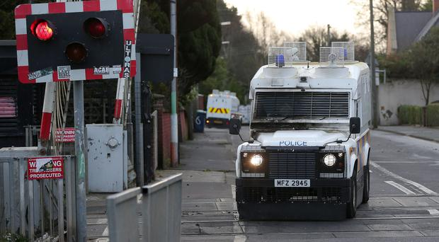 A police Land Rover at the scene of the attack