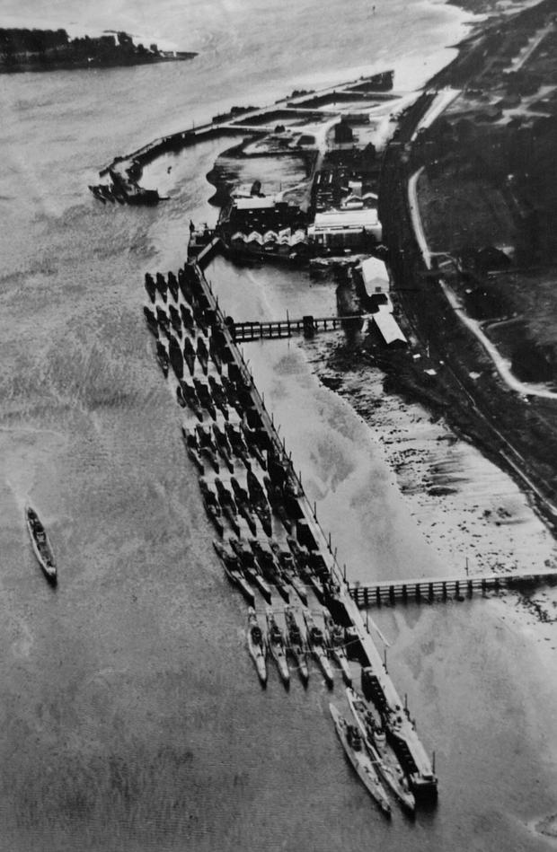 The German U-boat fleet berthed at Lisahally after the surrender in 1945