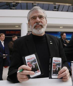 Gerry Adams as he launched his Little book of Tweets in the Kennedy Centre last week
