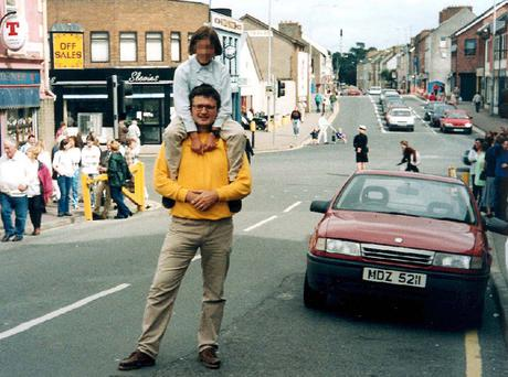 Gonzalo Cavedo steps on to the street for what he thought was just another holiday snap, in front of the bomb car parked in Market Street, Omagh, prior to the blast