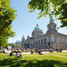 Belfast City Hall grounds in the summer
