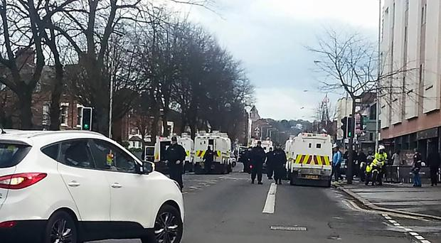 The scene at Ormeau Road on Tuesday night as CS spray was used