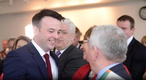 SDLP leader Colum Eastwood with colleagues during his party's election manifesto launch in Dungannon, Co Tyrone