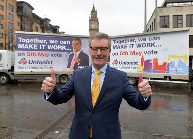 Ulster Unionist Party Leader Mike Nesbitt unveils the party's billboard campaign for the Assembly elections at Custom House Square