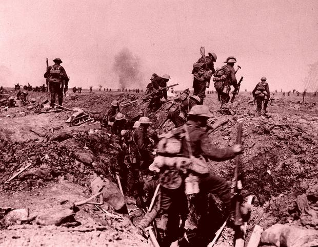 British troops go forward in support of an attack on the village of Morval during the Battle of the Somme